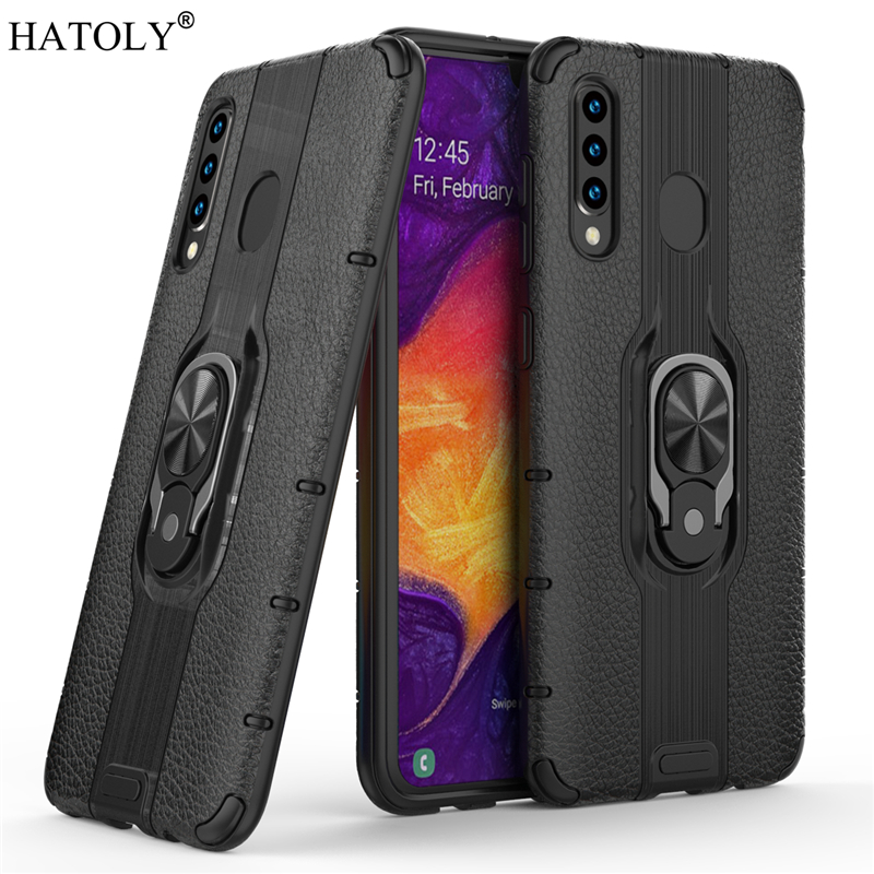 For Samsung Galaxy A20 Case Armor Finger Ring Rubber PC Hard Back Phone