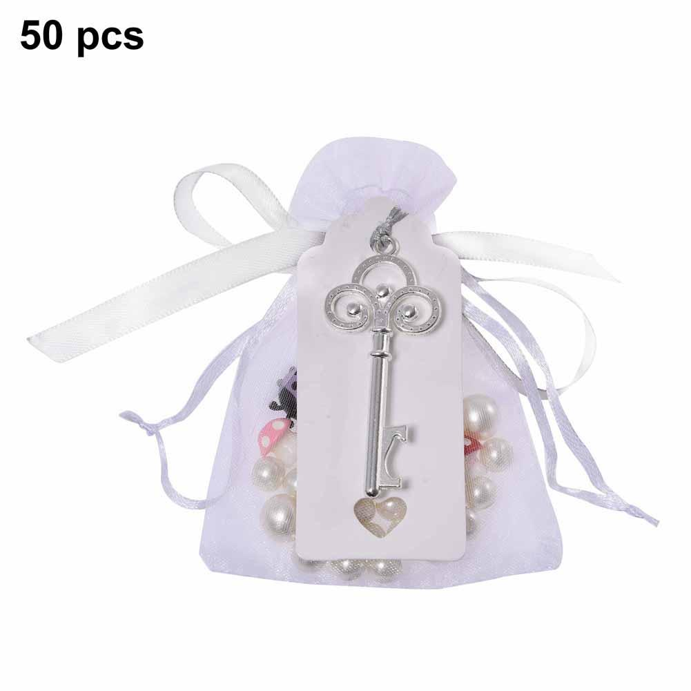 50PCS Country Style Vintage Key Opener Label And Transparent Tulle BAG For Wedding Party Supplies Durable And Rust Resistant