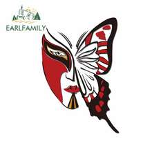 EARLFAMILY 13cm x Butterfly Mask Car Sticker Helmet Motorcycle Accessories JDM Oem Polyethylene Sunscreen Waterproof