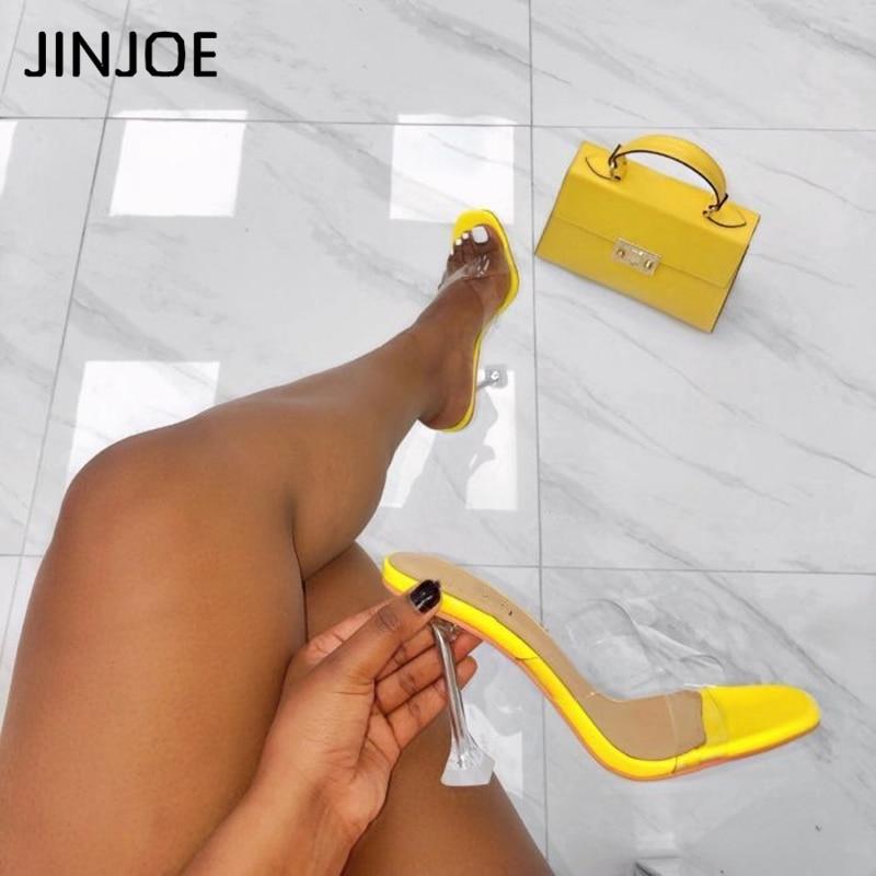 JINJOE New Style Fashion Casual Thin Heel Major Suit Sexy Shallow Joker Pumps High-heeled Woman Single Shoes Crystal Heel PVC