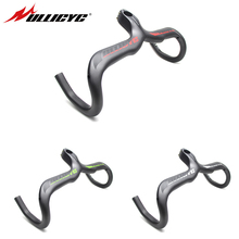Ullicyc Newest Matte Road Bicycle Handlebar With Stem 3K Full Carbon Bent bar Bike Handlebar 400/420/440mm*90/100/110/120mm newest road bicycle windreaver racing ud full carbon handlebar internal cable carbon bike handlebar 31 8 400 420 440mm free ship