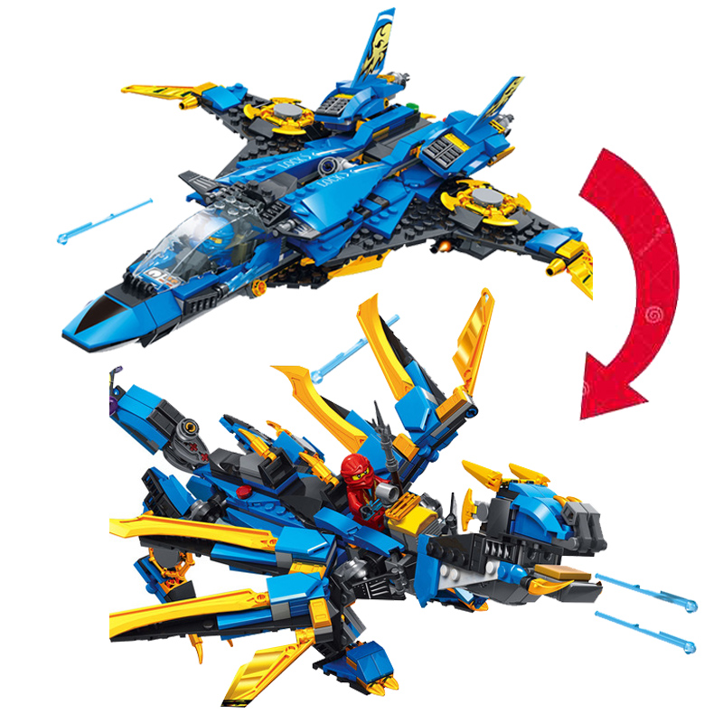 New Ninja Series Deformation Jay's Storm Fighter Compatible Legoinglys <font><b>Ninjagoinglys</b></font> <font><b>70668</b></font> Building Blocks Toys for Kids Gift image