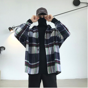 Image 3 - 2019 Frühling Und Herbst Neue Hong Stil Mode Casual Shirt Männer der Trend Lose Schulter Jacke Navy/Einfarbig S 2XL