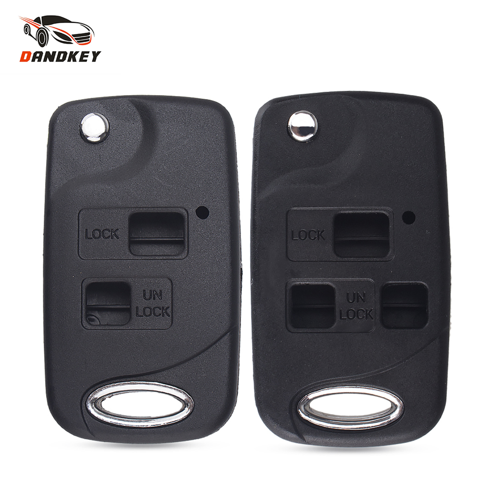 Dandkey 2/3 <font><b>Buttons</b></font> <font><b>Remote</b></font> Fob Modified Flip <font><b>Key</b></font> Shell Case For <font><b>Toyota</b></font> Corolla Yaris Carina Cruiser Camry <font><b>Avensis</b></font> Car <font><b>Key</b></font> Case image