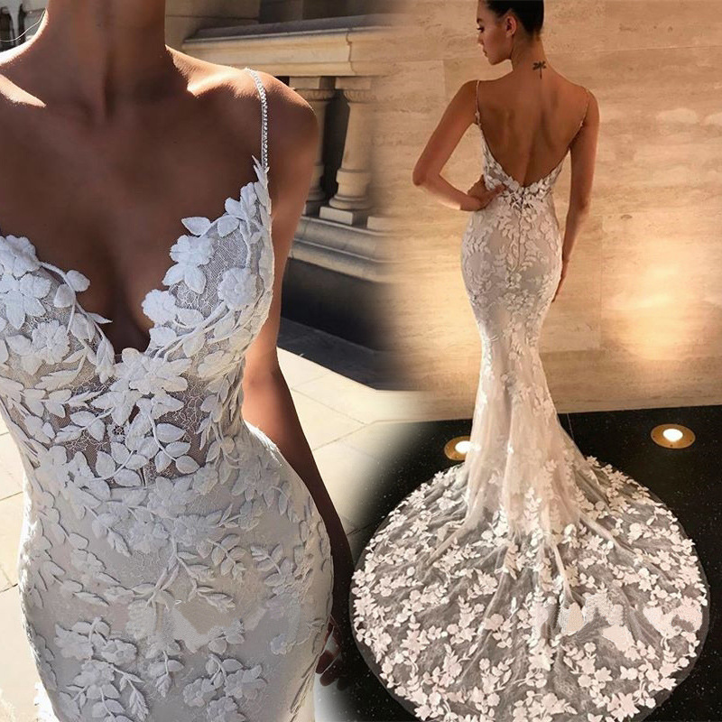 Holievery Spaghetti Straps Style Lace Mermaid Evening Dresses In Stock Backless Evening Gowns Long Party Dress