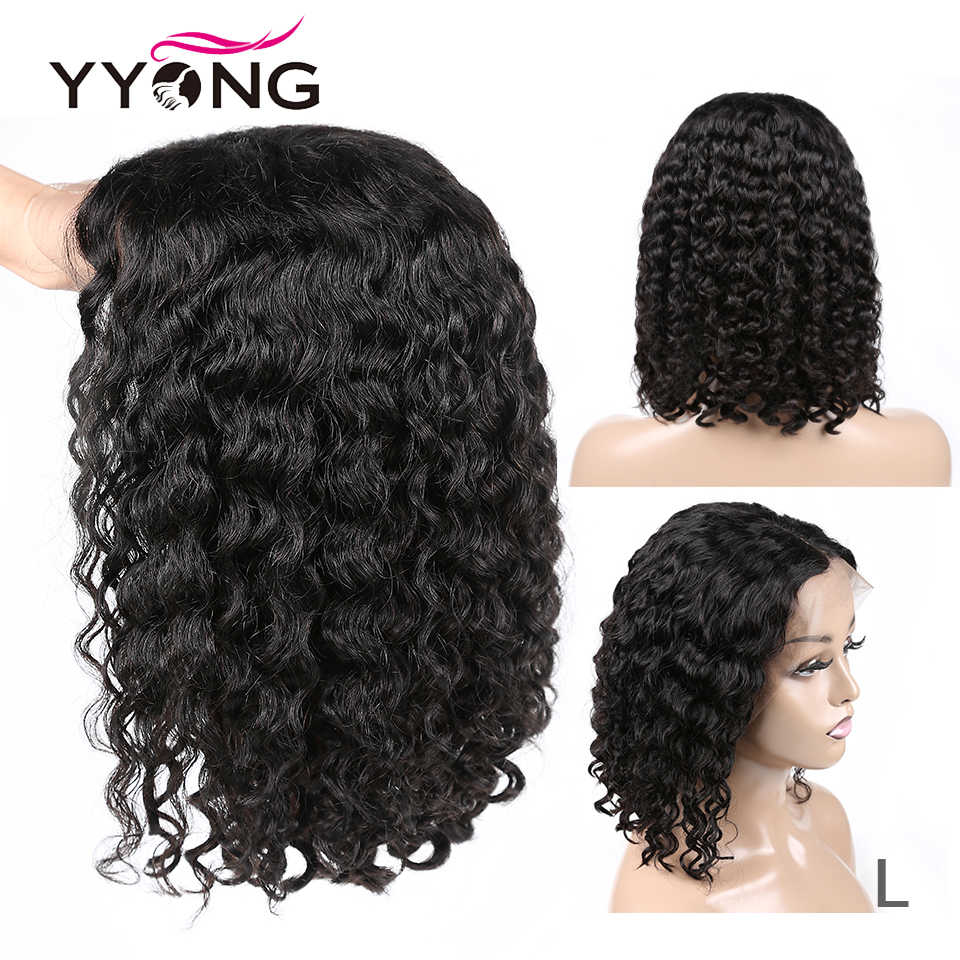 YYONG 13x4 koronki przodu włosów ludzkich peruk brazylijski Water Wave ludzkich włosów peruka z krótkim bobem z wstępnie oskubane Hairline 120% gęstości peruka