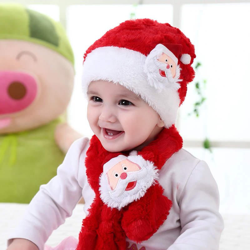 Baby Cute Cartoon Santa Claus Plush Cap Warm Red Christmas Winter Hat Scarf Set For Children Kids Gifts