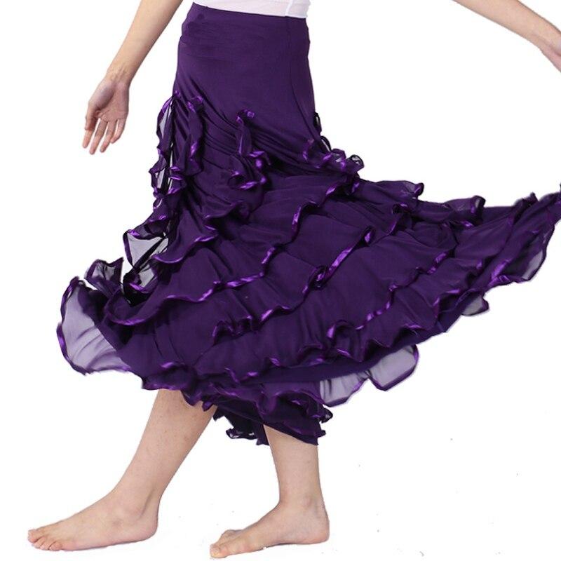 Z Women Solid High Waist Sequins Polka Dot Modern Dance Skirt  Ankle-Length Dance Big Swing Skirt Waltz Ballroom Dance Skirt