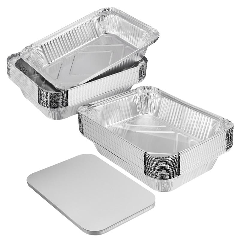 BESTONZON 20pcs Aluminum Baking Sheets Disposable Drip Pan Tray Foil Tin Liners with Lid for Kitchen Cooking 26 x 19 x 6.3 cm
