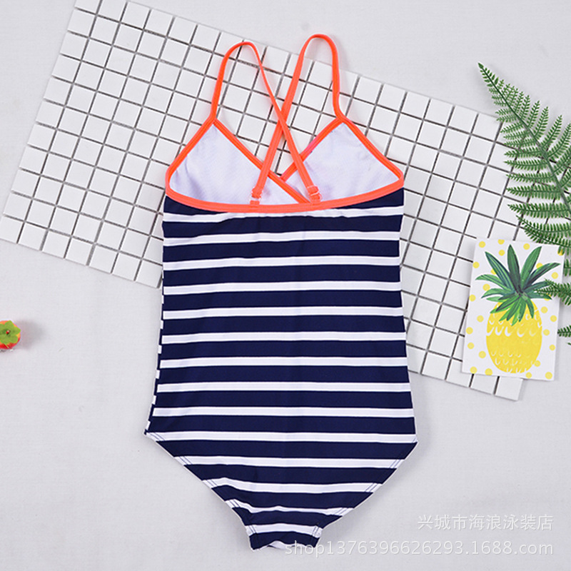 2018 Children Big Kid New Style KID'S Swimwear Fashion Cute Stripes Students Girls One-piece Triangular Bathing Suit