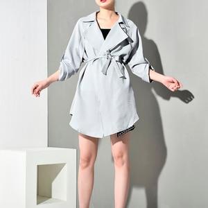 Image 2 - LANMREM 2020 Spring New Fashion Casual Women Long Coat Solid Color Loose Large Size Belt Windbreaker TC113