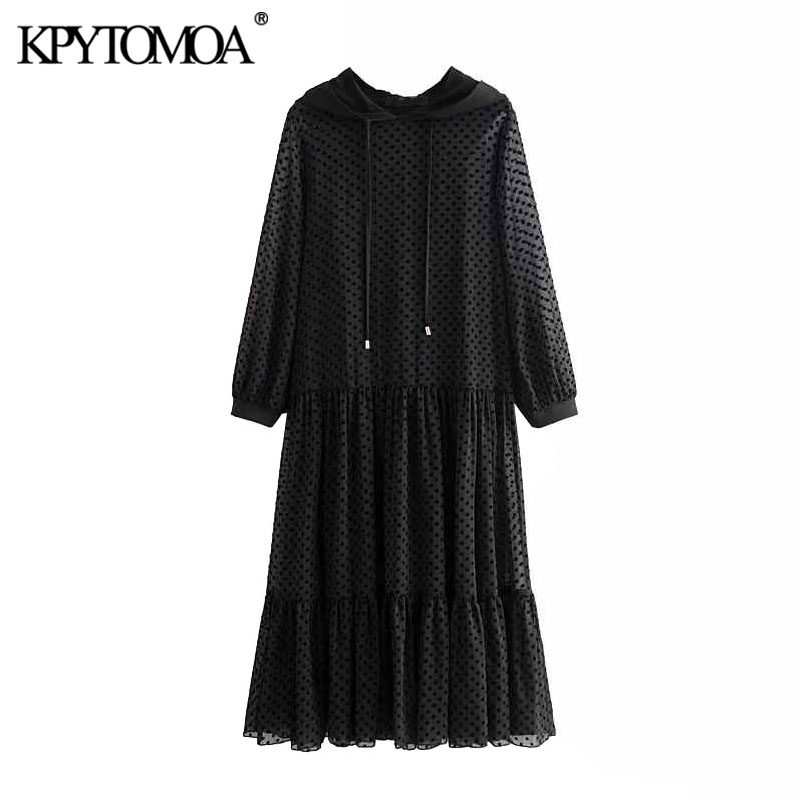 KPYTOMOA Women 2020 Chic Fashion Dotted Mesh Ruffled Midi Dress Vintage Drawstring Hooded Long Sleeve See Through Female Dresses