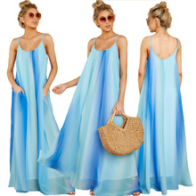 Sexy Gradient Color Maternity Dresses Women Spaghetti Strap Sleeveless Chiffon Nursing Maxi Long S-2XL