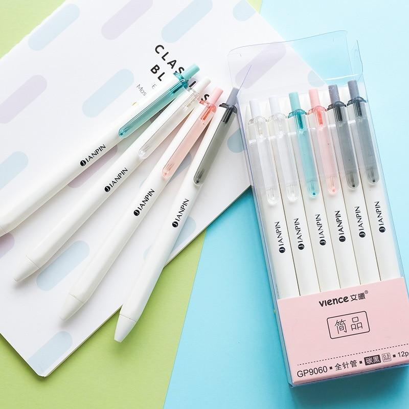 4 Packs Gel Ink Pen Fine Point Pens Ballpoint Pen 0.5mm Black For Japanese Office School Stationery Supply