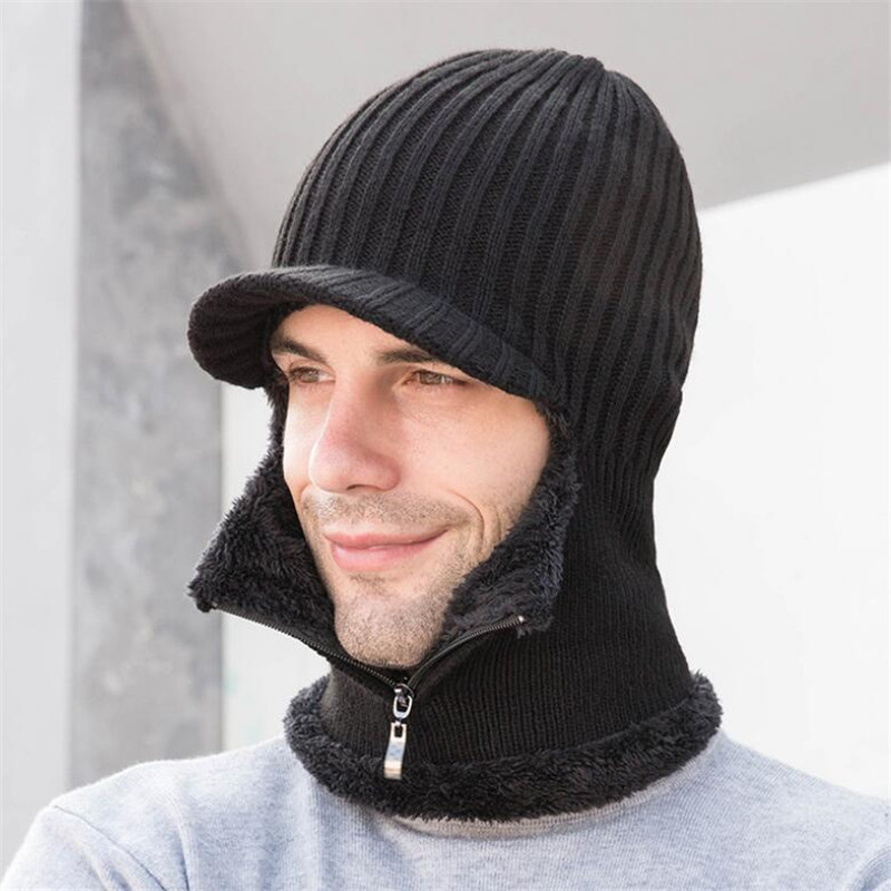 Zip Hooded Scarf Men Women 2019 Plush Knitted Hat And Scarf Male Woman Winter Warm Protection Ear Brim Cap Ring Scarves Adult