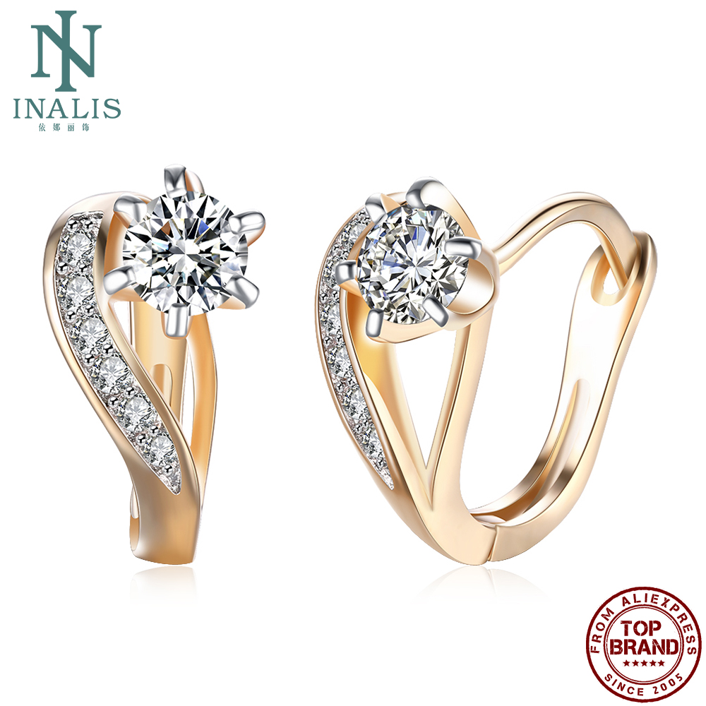 INALIS Clip Earrings Women Heart-Shaped With Cubic Zirconia Sweet And Romantic Earring Fashion Jewelry Gift New For Girlfriend