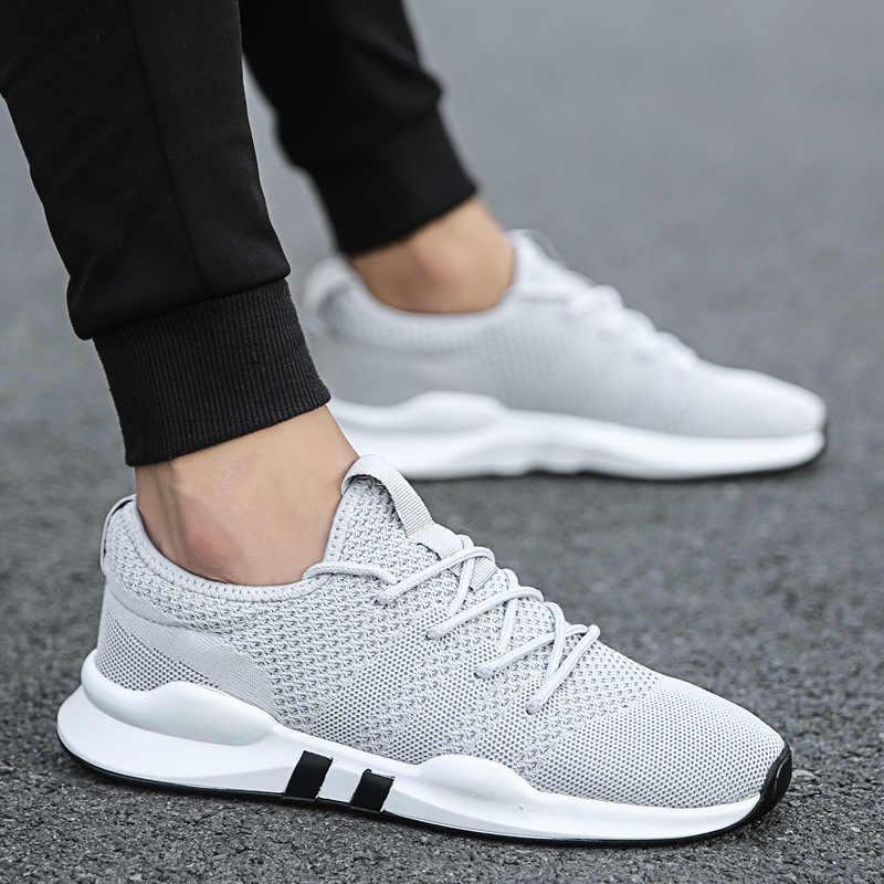 احذية الجري الجديدة تنفس شبكة الرجال أحذية رياضية الدانتيل متابعة الرجال أحذية رياضية في الهواء الطلق خفيفة الوزن حذاء رجالي الأحذية المسطحة