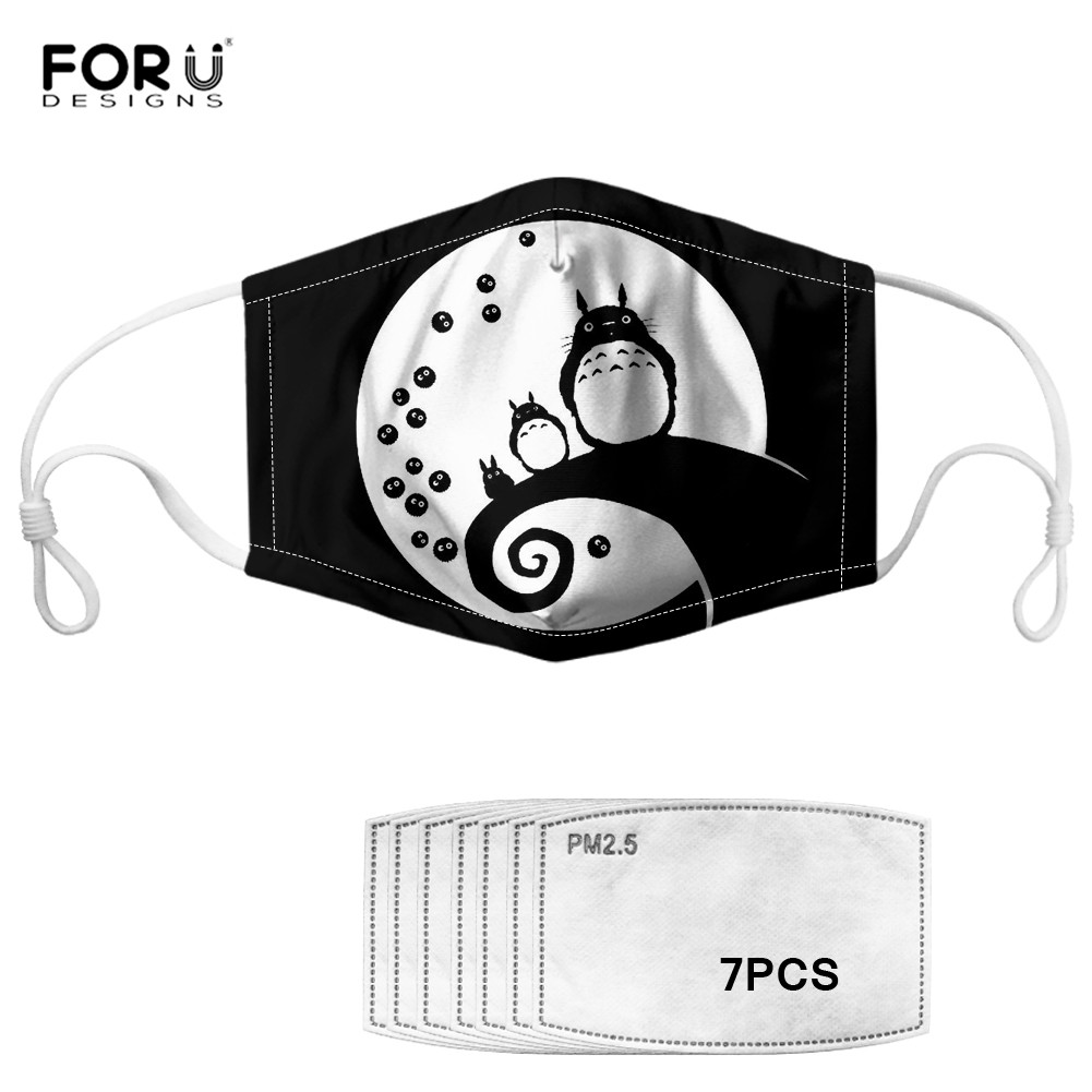 FORUDESIGNS My Neighbor Totoro Print Women Men Face Masks Reusable Anti-dust Mask Kids Non-disposable Windproof Mouth Mask