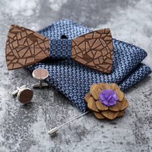 Fashion Handmade Wooden Bow Tie Handkerchief Cufflinks Set Men's 3D Bow Tie Wood Pocket Square With Box For Men Wedding Party premium handmade wooden bow tie for men