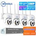Movols H.265 3MP HD Беспроводная система видеонаблюдения двухсторонняя аудио Водонепроницаемая PTZ WIFI IP камера безопасности 8CH P2P NVR комплект видеона...