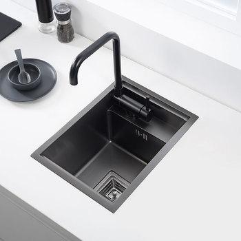 black Hidden Kitchen sink Single bowl Bar Small Size sink Stainless Steel Balcony sink Concealed black kitchen sink Bar sink sink grid