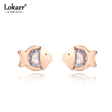 Lokaer Fashion Titanium Stainless Steel Small Fish Earrings Rose Gold CZ Crystal Animals Earrings Jewelry For Women Girl E19159