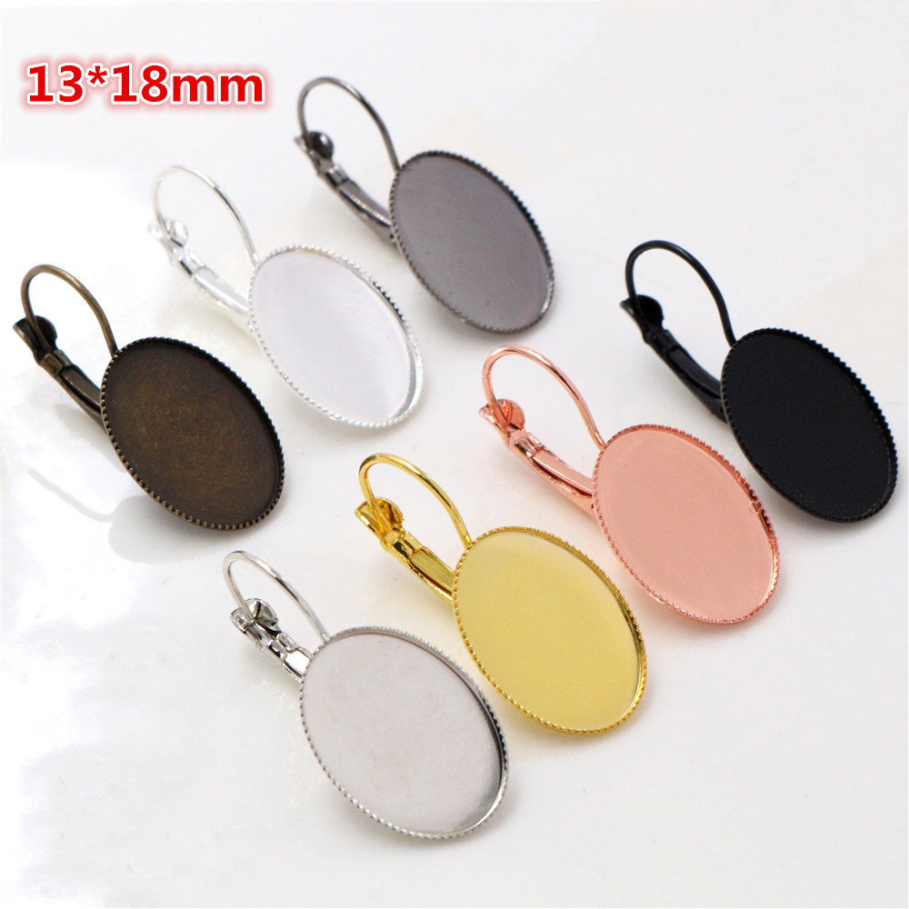 13x18mm 10pcs/lots 7 Colors Plated French Lever Back Earrings Blank/Base,Fit 13x18mm Oval Glass Cabochons