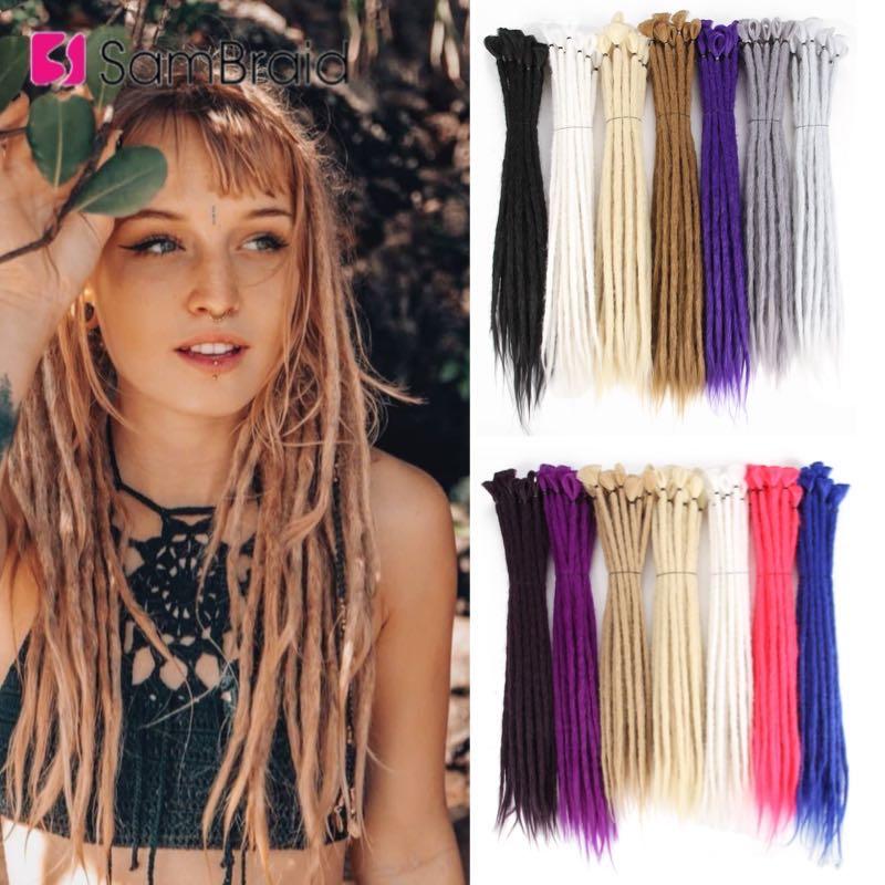 SAMBRAID Handmade Dreadlocks Hair Extensions 20 inch Fashion Crochet Braids Hip-Hop Style Synthetic Dreads Crochet Braids Hair
