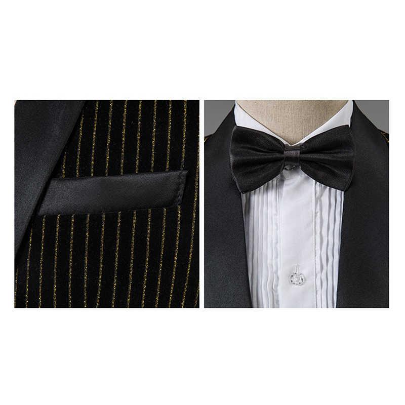 Trajes de rayas doradas para hombre, trajes de moda ajustados, trajes de novio, traje de cantante, música, espectáculo de escenario, fiesta, Tuxdeo Shwal solapa