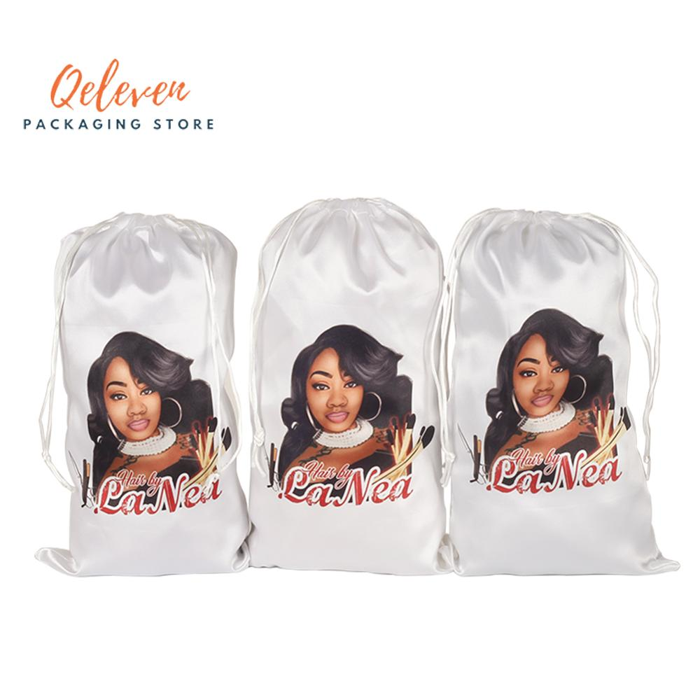 Personalized Customized Printing Virgin Human Hair Extensions Packaging Satin Silk Bags, Gift Hair Bundles Packing Bag