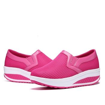 New Women Toning Shoes Weightlifting Increase Height 5 Cm Swing Shoes Platform Wedge Sneakers Ladies