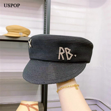 USPOP New Women Summer Breathable Straw Newsboy Cap Flat Visor Diamond Letter Baker Boy Hat