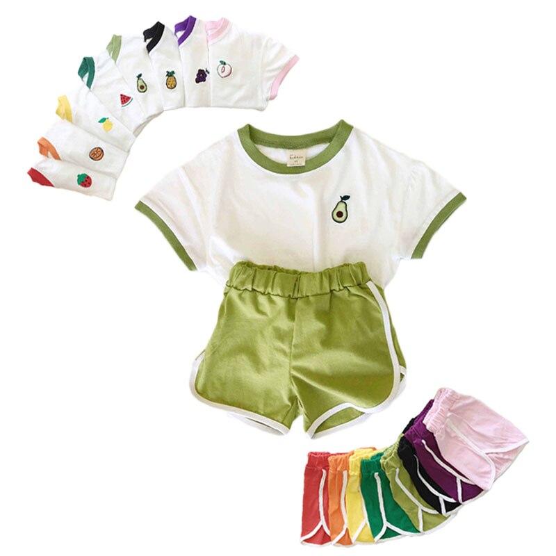 2020 infantil recem nascido criancas roupas conjunto bonito padrao de frutas impressao menino menina camisetas shorts