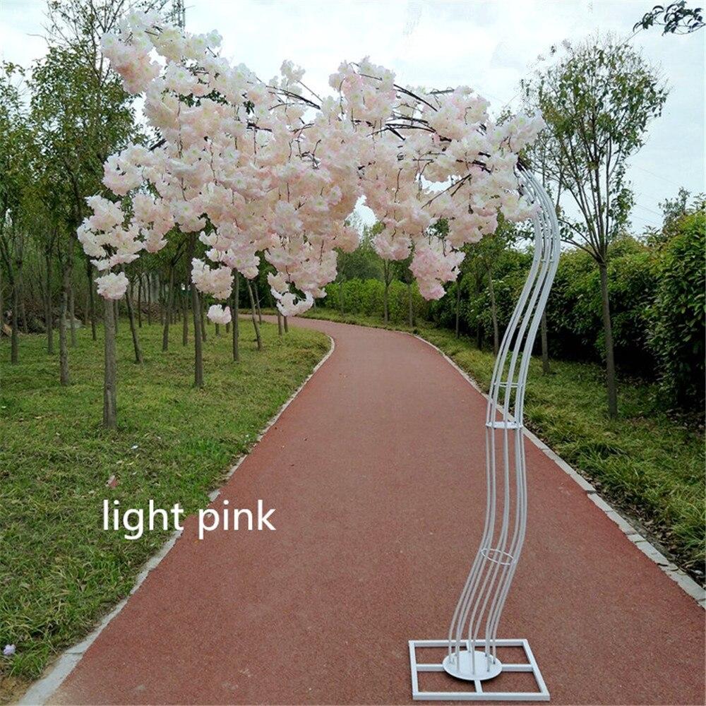 Blanco color Artificial Árbol de la flor cereza carretera Simulación de La Flor de la cereza con hierro arco de boda para boda fiesta 2,6 M