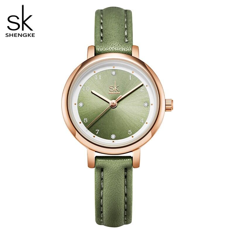 28mm – Kleine Damenuhr mit Lederarmband in beige, grau oder grün | Damen-Armbanduhr Schicke Armband-Uhren 2