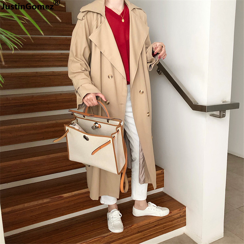 Woman Fashion Chic Double-breasted Long Coat Loose Korean Stlylish Beige Clothes Premium Trendy   Trench   Coat for Women With Belt