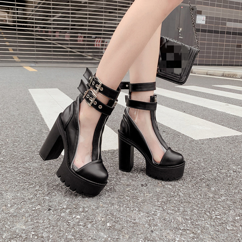 Womens Ladies High Heel Goth Punk Rock Studded Ankle Strap Peeptoe Sandals Shoes