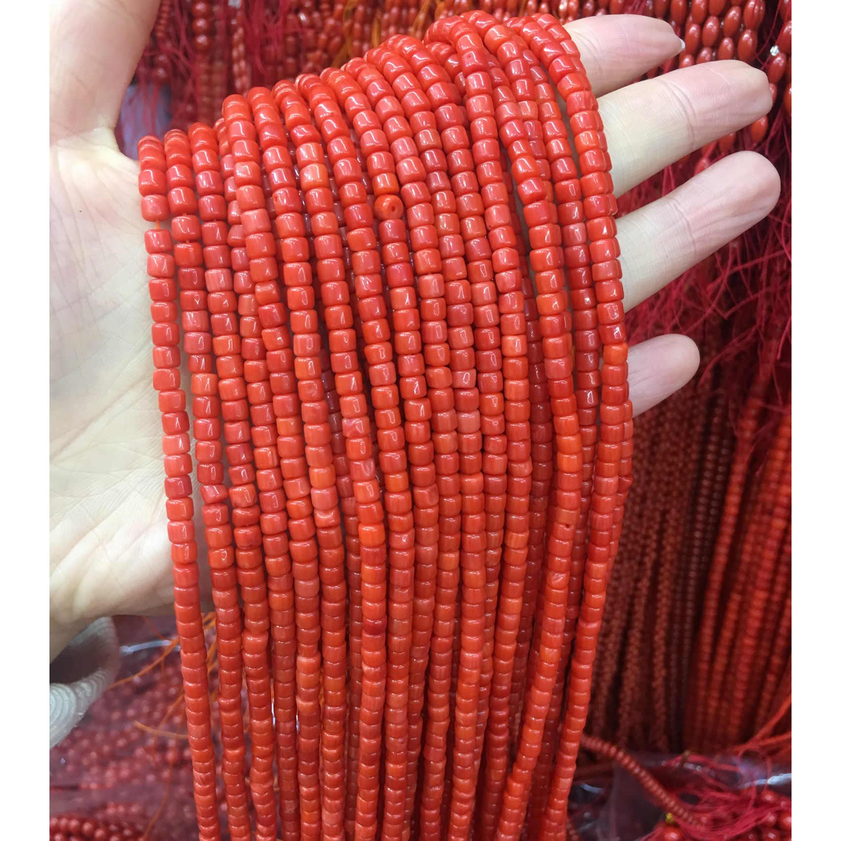 ธรรมชาติวัสดุปะการังสังเคราะห์ทรงกระบอกลูกปัดปะการังสีแดงลูกปัด DIY เครื่องประดับทำด้วยมือลูกปัดอุปกรณ์เสริม