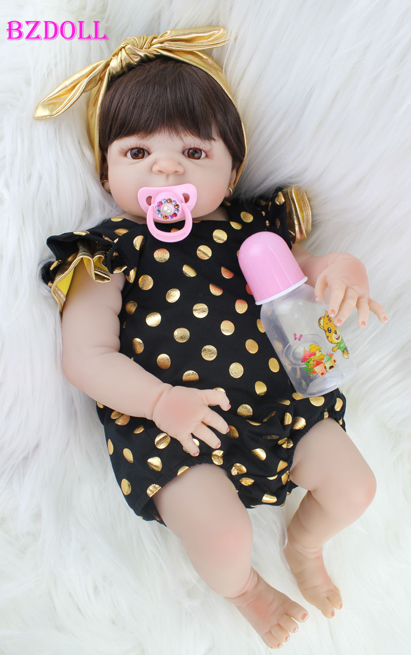 55cm Full Silicone Body Reborn Baby Doll Toy Realistic Newborn Princess Babies Doll With Earring Girl Brinquedos Bathe Toy(China)