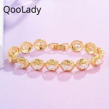 QooLady Luxury Yellow Gold Color Round Charm Cubic Zirconia Tennis Bracelet for Wedding Jewelry Accessories S007