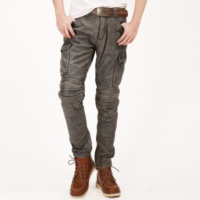 2020 Vintage Brown Men American Style Motorcycle Leather Trousers  Genuine Thick Cowhide Winter Biker's Pants