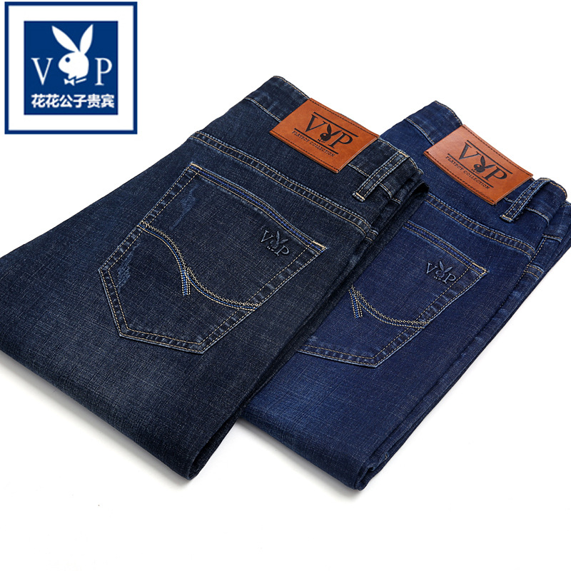 Playboy Vip Ultra-stretch Summer Thin Section Jeans Men Zhi Tong Kuan Korean-style Trend Casual Long Pants