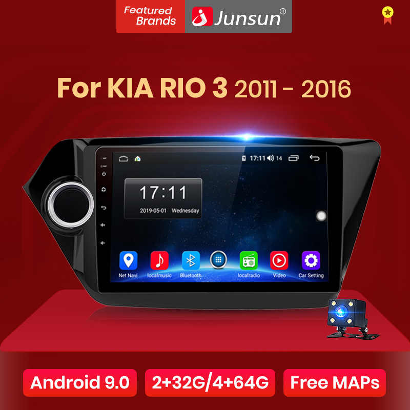 Junsun V1 Android 9.0 2G + 32G Dsp Auto Radio Multimedia Video Player Navigatie Gps Voor Kia Rio 3 2011-2018 Rio Sedan 2 Din Geen Dvd