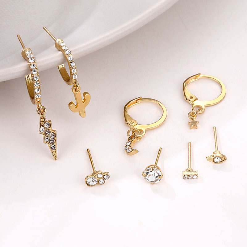 EN Gold Small Hoop Earrings For Women Crystal Ear Rings Vintage Geometric Round Circle Earring Set Brincos 2020 Fashion Jewelry