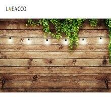 Laeacco 歳木製ボード緑の葉籐光写真撮影がカスタマイズされた写真の背景フォトスタジオ