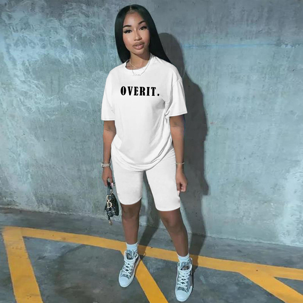 JENYAGE Two Piece Short Set For Women Summer 2020 New Fashion Over It Letter Print Casual Biker Short Sleeve Tracksuit Outfits