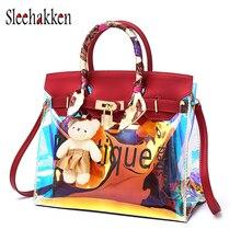 Composite bag female shopping shoulder jelly package transparent laser new large silk ribbon Messenger