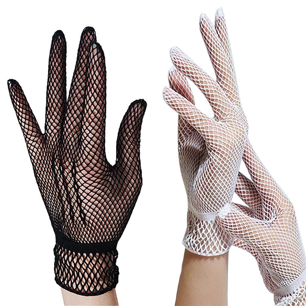 Women Summer UV-Proof Driving Dance Costume Lace Gloves Mesh Fishnet Gloves Cute Patchwork Mittens Guantes High Quality 0.8