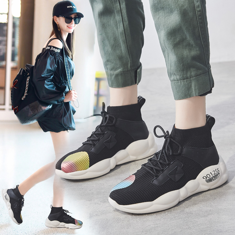 Foreign trade original single cut high quality women's shoes autumn high shoes fast fashion wild socks shoes sports shoes 36