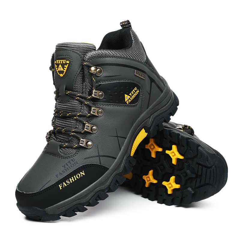 Marca Degli Uomini di Inverno Stivali Da Neve Caldo Super-Gli Uomini di Alta Qualità Sneakers In Pelle Impermeabile Da Trekking Outdoor Maschio Scarpe Stivali Da Lavoro 39 -47
